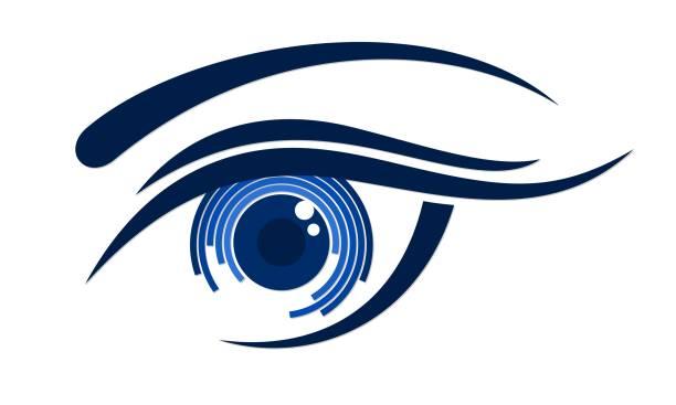 ilustraciones, imágenes clip art, dibujos animados e iconos de stock de logo female eye. - ojos azules