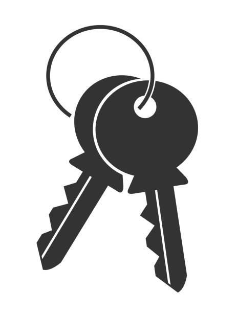 ilustrações, clipart, desenhos animados e ícones de tecla de logotipo do apartamento simples silhueta ícone isolado no fundo branco - chave