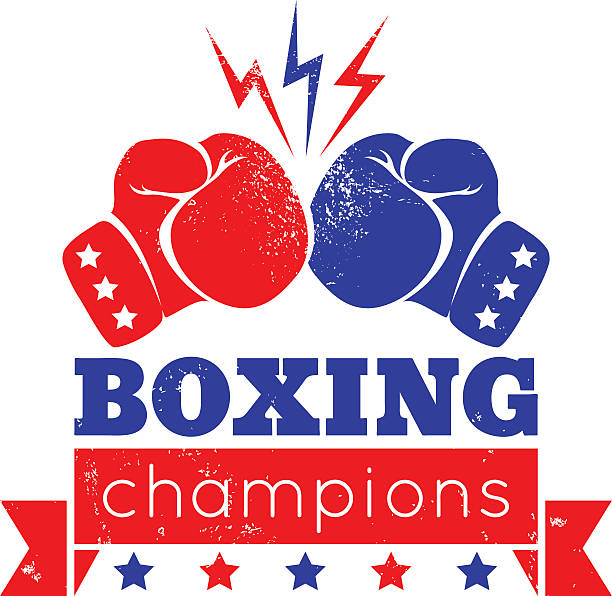 logo for a boxing - boxing gloves stock illustrations, clip art, cartoons, & icons