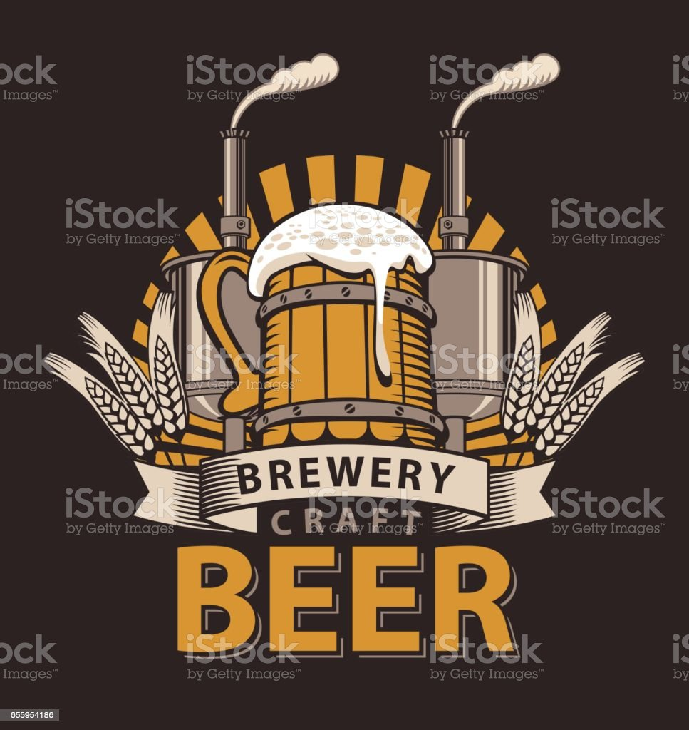 logo for a pub or a brewery with wooden mug vector art illustration