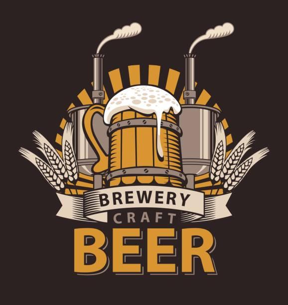 Logo für eine Kneipe oder eine Brauerei mit hölzernen Becher – Vektorgrafik