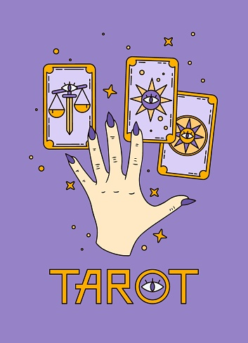 Logo for a tarot reader, print for souvenirs, a set of drawings about tarot card. Fortune telling on tarot cards, fortuneteller, witch, female hand, magic, love spell, occultism, prediction, esoteric