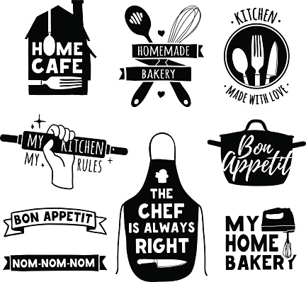 Logo For Bakery Shop Cooking Club Cafe Food Studio Stock Illustration - Download Image Now