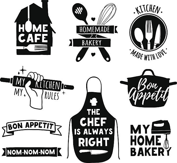 Logo for bakery shop, cooking club, cafe, food studio Set of vintage retro handmade badges, labels and logo elements, retro symbols for bakery shop, cooking club, cafe, food studio or home cooking. Template logo with silhouette cutlery. apron stock illustrations