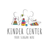 logo for child care centerand kindergarten. child development and educational games . kids intellectual growth and silhouettes of playing kids