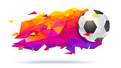 Logo for football teams or tournaments, championships soccer. Creative low-poly trendy backdrop with ball and triangles for t-short, posters, banners, covers and invitations