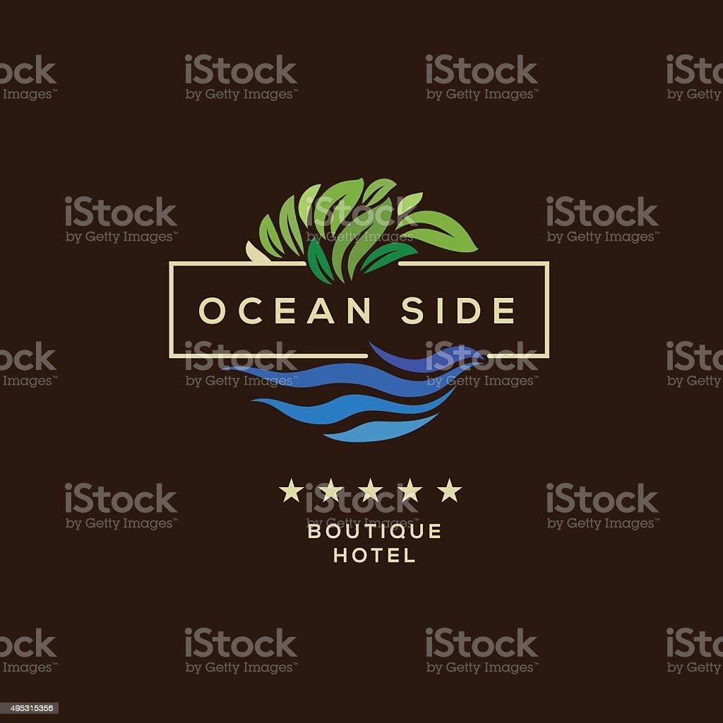Logo for hotel, ocean side resort, logotype design vector art illustration