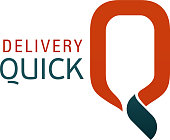 Logo for shipping company. Quick delivery service sign. Delivery icon in orange and gray colors. Vector logo symbol of fast delivery isolated on white background. Concept of courier service or shipping company