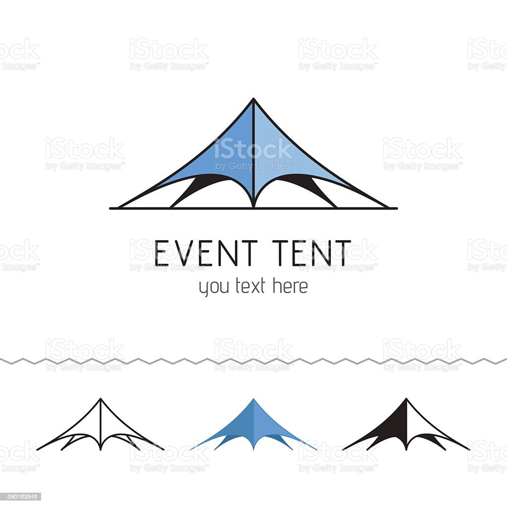 Logo for rent tents agency. Event tent. vector art illustration