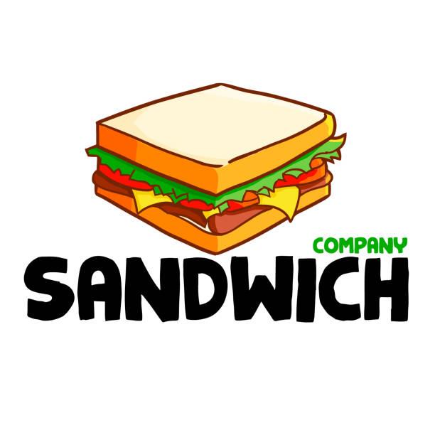 illustrazioni stock, clip art, cartoni animati e icone di tendenza di logo per panino o azienda - panino