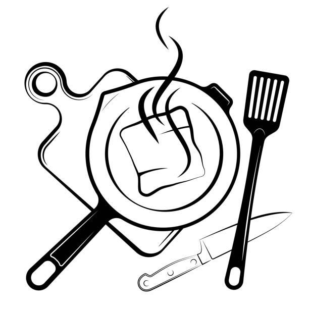 bildbanksillustrationer, clip art samt tecknat material och ikoner med logotyp för menyn eller restaurang. stekpanna och spade för stekning. svartvita ritning. - frying pan