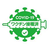 "Logo for vaccinated against new coronavirus. Translation: ""Vaccinated"""
