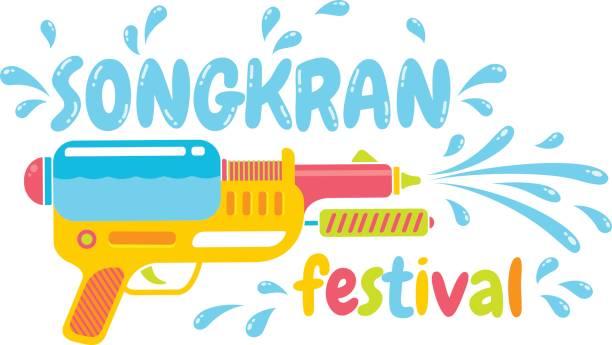 logo for water festival - songkran festival stock illustrations, clip art, cartoons, & icons