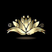 Logo gold lotus flower vector image template
