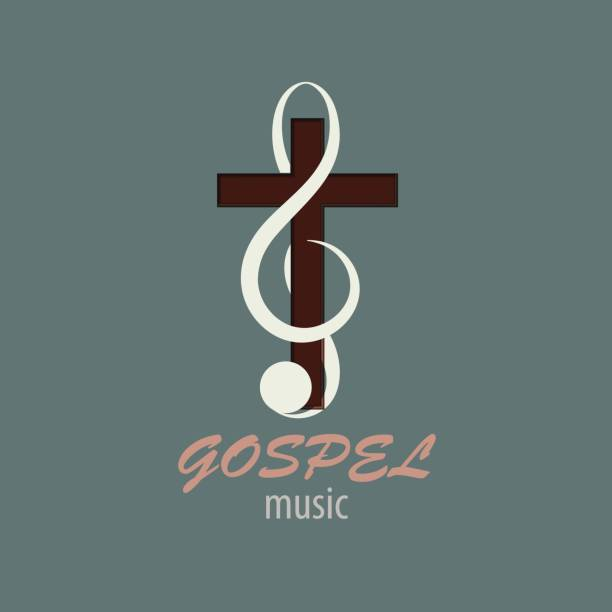 Logo Gospel Music Musical logo, which symbolizes Evangelical music. For music studios that reach out to Christian music. gospel choir stock illustrations