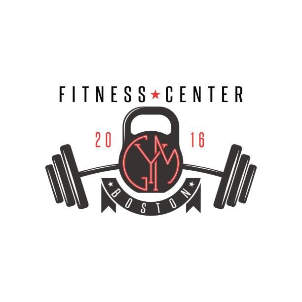 Logo gym hipster, kettlebell and athletic barbell sports lifestyle emblem mockup, bodybuilding label vector art illustration