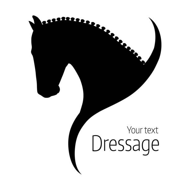 bildbanksillustrationer, clip art samt tecknat material och ikoner med logo handritad svart vektor dressyrhäst silhuett. - häst tävling