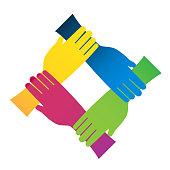 Handshake teamwork people union icon logo vector template