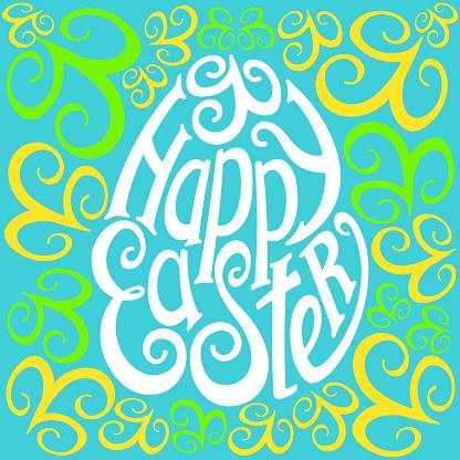"Logo ""Happy Easter"" calligraphy in retro style"