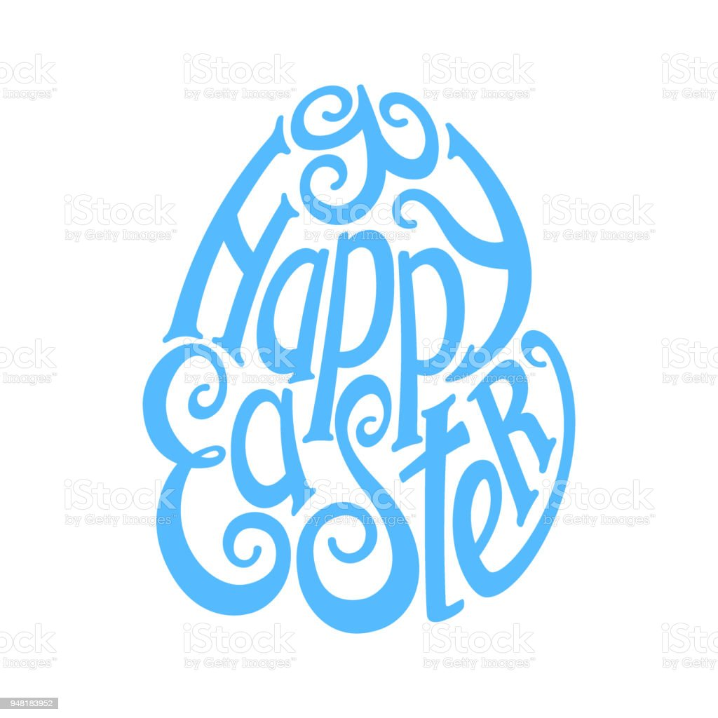 "Logo ""Happy Easter"" calligraphy in retro style"