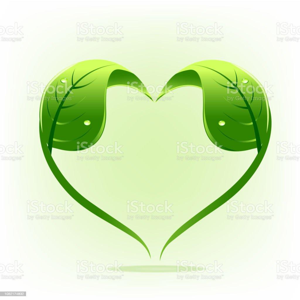 cb82a668091cd Natureza saudável logotipo folhas amor simbolo logo vector ilustração de  natureza saudável logotipo folhas amor simbolo