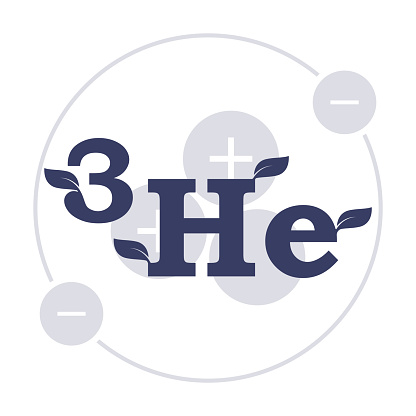Logo Helium 3. The transparent structure of the atom in the background of the formula. Vector on white background.