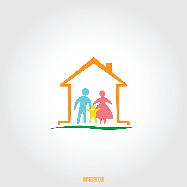 Logo home with a happy family, vector Logo of the house with a happy family. Trading house, family sale. sheltering stock illustrations