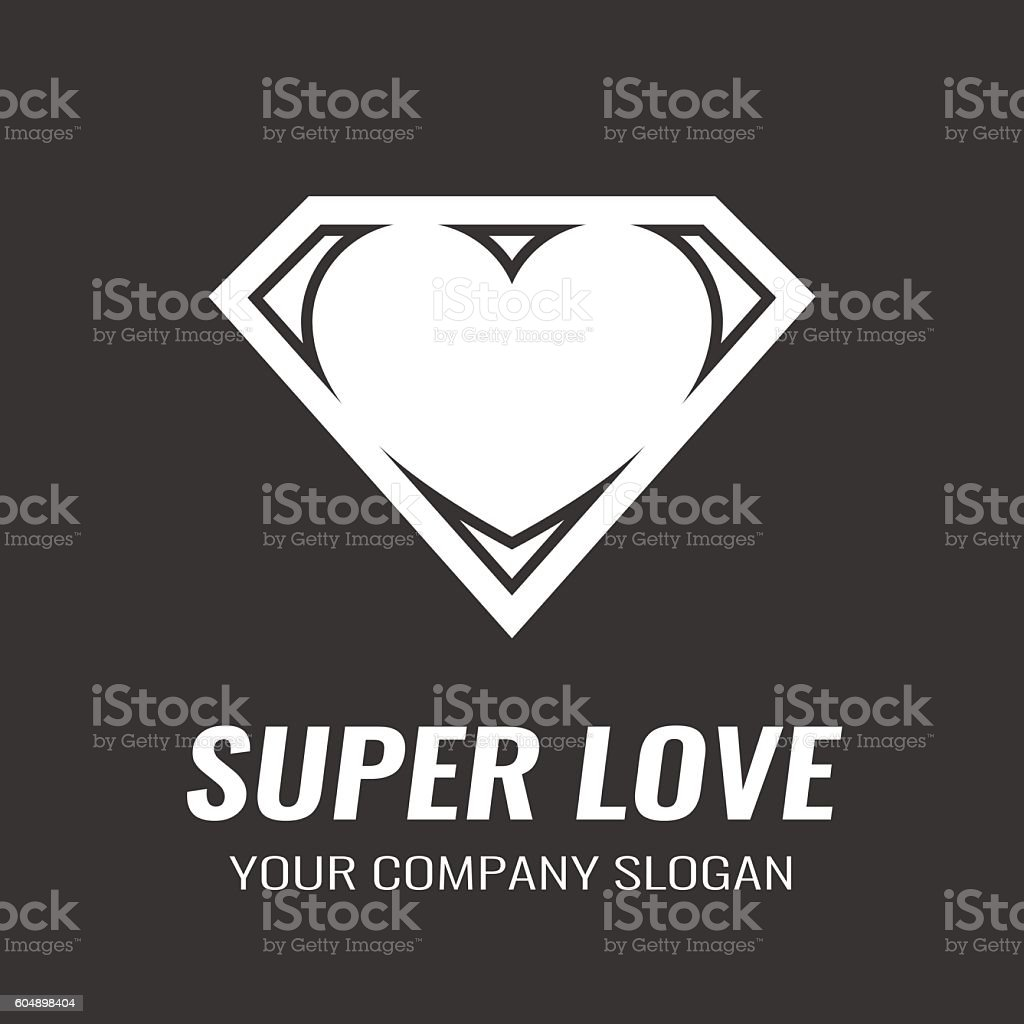 Logo. Icon. Heart. Super love. vector art illustration