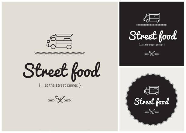 logo, identität, marke, vektor, piktogramm, imbisswagen, essen, restaurant, auto, oldtimer - imbisswagen stock-grafiken, -clipart, -cartoons und -symbole