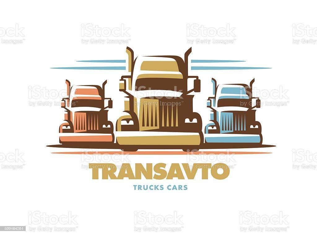 Logo illustration trucks on white background vector art illustration