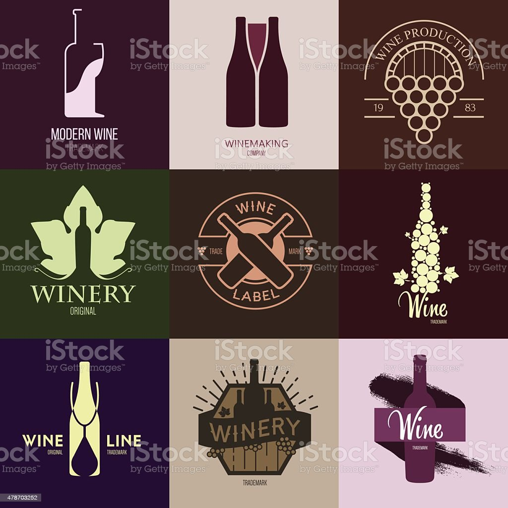 Logo inspiration for shops, companies, advertising with wine. vector art illustration
