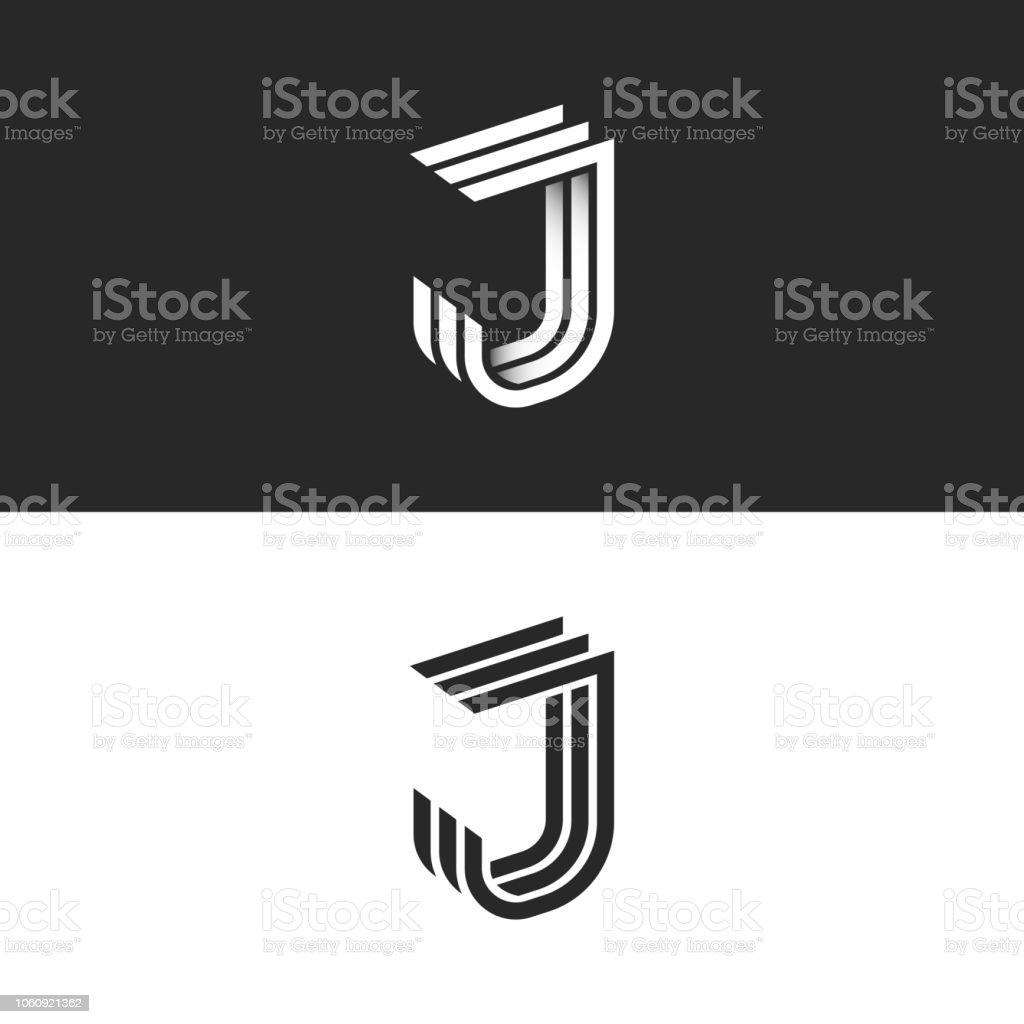 Complètement et trop extrême Lettre De Logo J Dans La Forme Géométrique De Lignes Parallèles 3d @XR_22