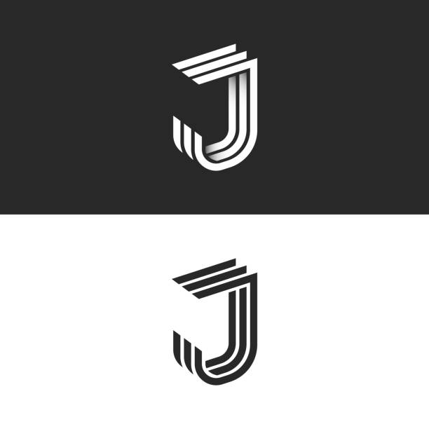 Logo J letter in isometric font initial monogram, black and white 3d geometric parallel lines shape with shadow gradient. Creative modern JJJ perspective emblem typography design element. Logo J letter in isometric font initial monogram, black and white 3d geometric parallel lines shape with shadow gradient. Creative modern JJJ perspective emblem typography design element. letter j stock illustrations