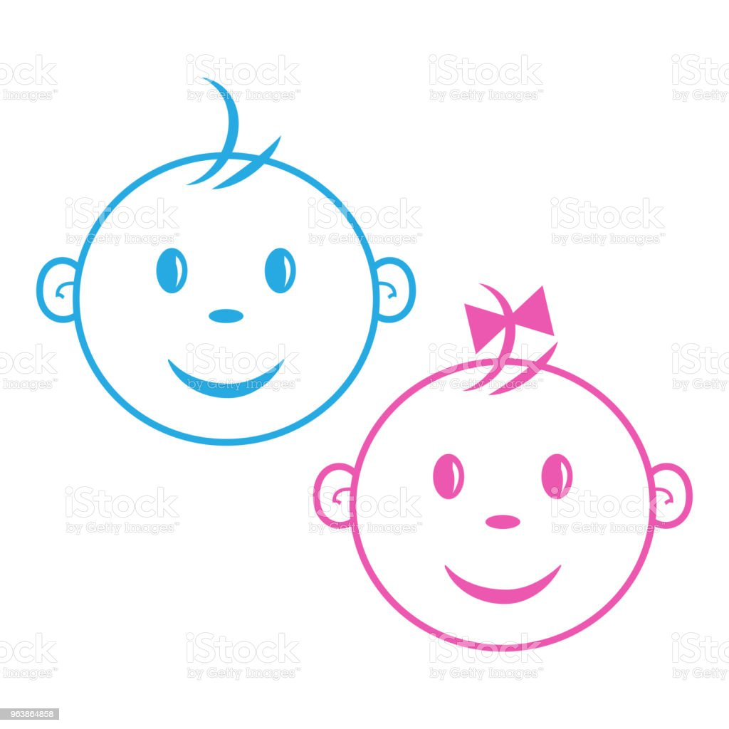 Logo kids. Boy and girl. Face baby. Blue and pink colors, outline design. Vector illustration - Royalty-free Baby - Human Age stock vector