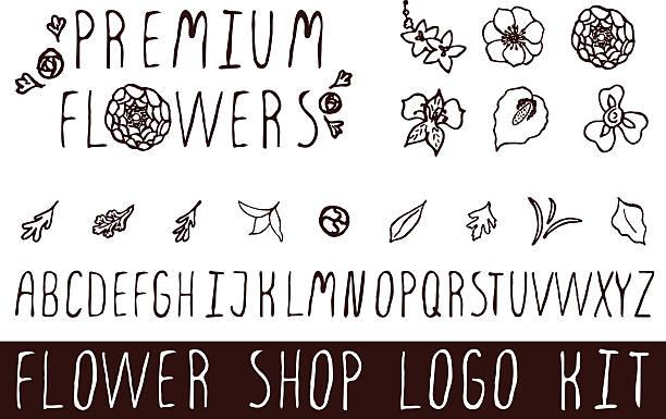 logo-set für blume geschäfte - inkalilie stock-grafiken, -clipart, -cartoons und -symbole