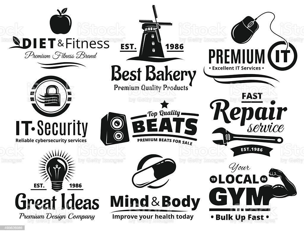 Logo Label Insignia And Icon Set vector art illustration