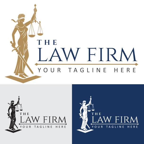 logo law firm lady justice - lawyer stock illustrations, clip art, cartoons, & icons
