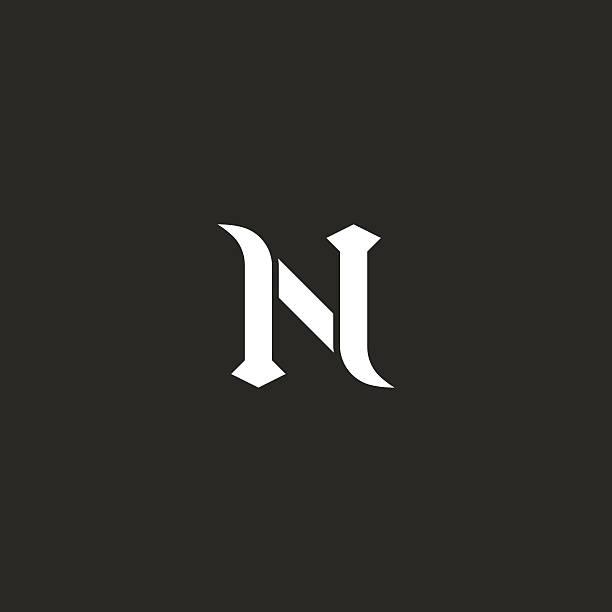 N Logo Letter Mockup Medieval Design Element Old Style Emblem Vector Art Illustration