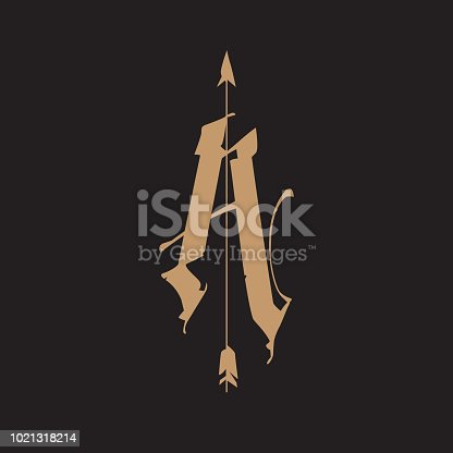 Logo, letters A with an arrow, in a Gothic style. Vector logo. Image is isolated on a black background. Monogram A for the tattoo. Medieval letter. Emblem for the store, brand. The letter a. Sign.