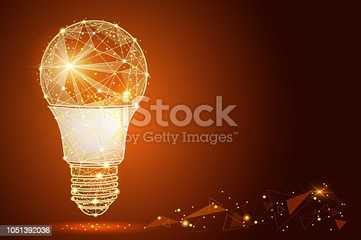 Logo light bulb abstract design, in low poly style, in the form of lines and stars. abstract polygonal image mash line and point. Digital graphics. with space for text. Vector illustration