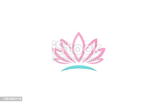 Logo pink lotus flower id business card vector image