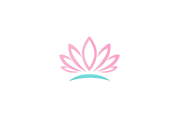 logo lotus flower business id card vector  design - massage stock illustrations