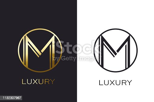 M Golden Mock Letter up elegant business card