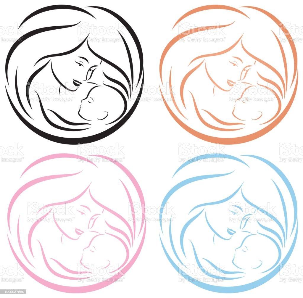 ロゴの赤ちゃんとママ穏やかな保護子供と母親の安全新生児の健康ベクトル