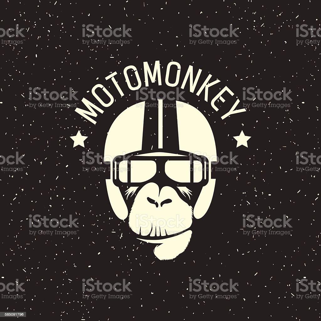logo monkey wearing a helmet - Lizenzfrei Alt Vektorgrafik