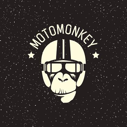 Logo Monkey Wearing A Helmet Stock Vektor Art und mehr Bilder von Alt
