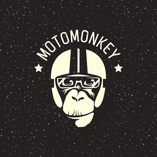 logo monkey wearing a helmet - extravagant schutzbrille stock-grafiken, -clipart, -cartoons und -symbole