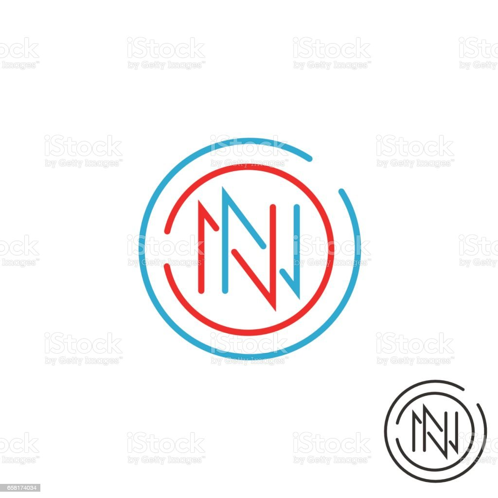 Logo N letter mockup monogram, round border two nn symbol, red and blue intersection thin line vector art illustration