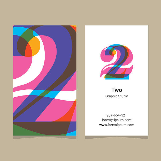"""Logo number """"2"""", with business card template. Logo number """"2"""", with business card template. Vector graphic design elements for company logo. gezond stock illustrations"""