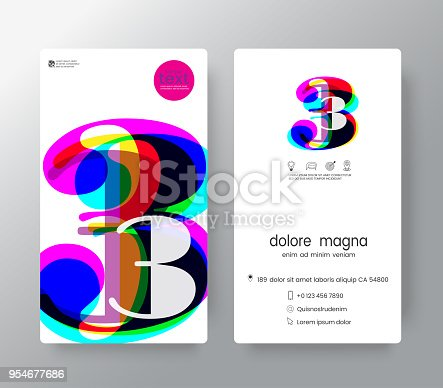 istock Logo number 3 business card design template. Vector graphic design elements for Corporate Identity. 954677686